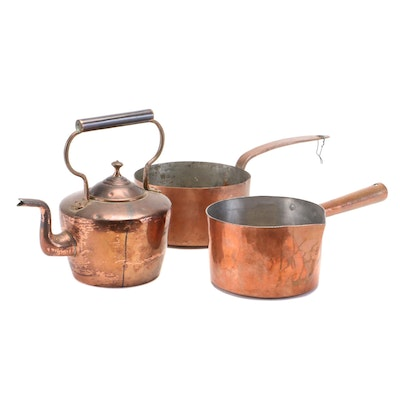 Copper Kettle, French Saucepan and Other Copper Pot, Late 19th/Early 20th C.