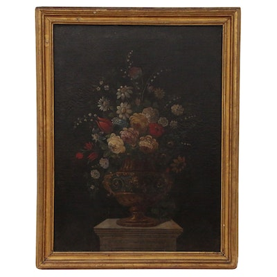Floral Still Life Oil Painting, 19th Century