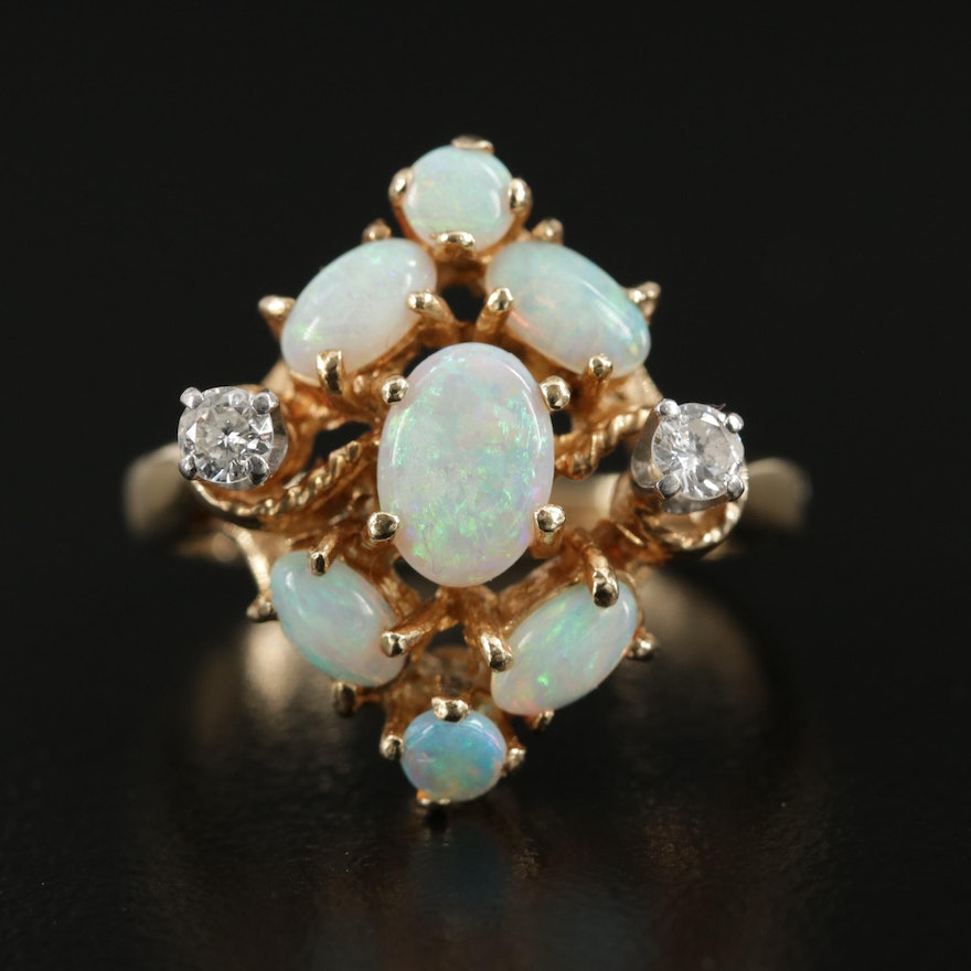 14K Yellow Gold Opal and Diamond Ring with Palladium Accents