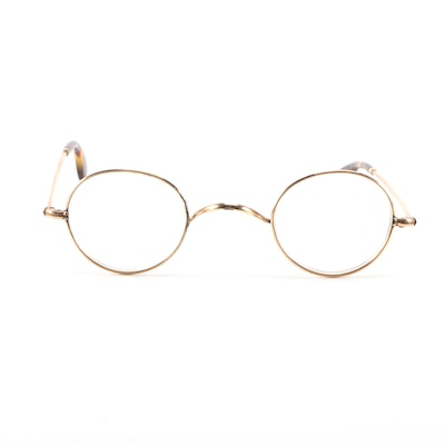 Gold Filled Prescription Eyeglasses with Tortoiseshell Style Stem Tips, Vintage