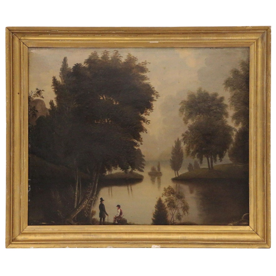 Hudson River School Landscape Oil Painting of River Scene with Figures