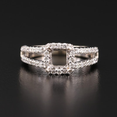 14K Gold Diamond Semi-Mount Ring with Split Shoulders
