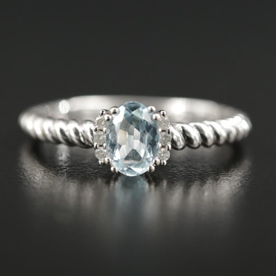 10K Gold Aquamarine and Diamond Ring with Twisted Shoulders