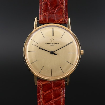 Vintage Eterna Eternamatic 3000 18K Gold Wristwatch