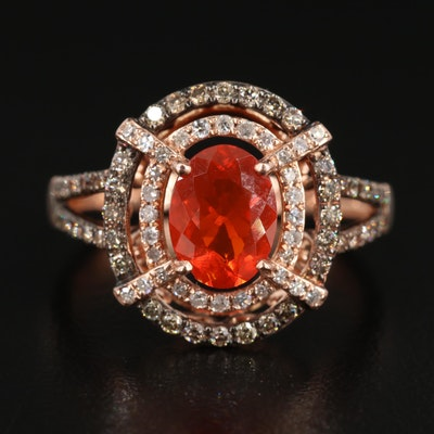 EFFY 14K Gold Fire Opal and Diamond Ring