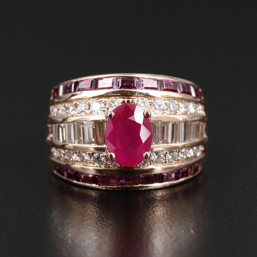 EFFY 14K Gold 1.54 CT Ruby, 1.28 CTW Diamond and Rhodolite Garnet Ring