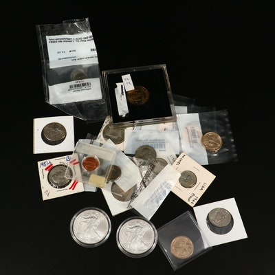 Assortment of Modern U.S. Coins, Including Two 2013 American Silver Eagles