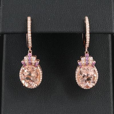 EFFY 14K Gold Morganite, Pink Sapphire and Diamond Dangle Earrings