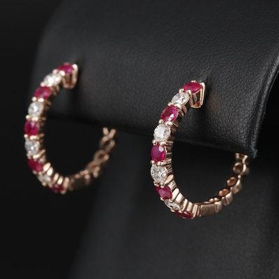 EFFY 14K Diamond and Ruby Hoop Earrings