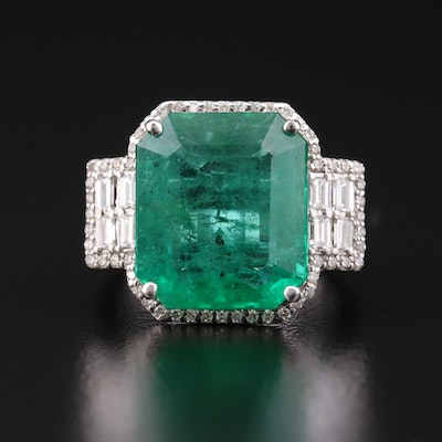 EFFY 18K Gold 7.82 CT Emerald and Diamond Ring