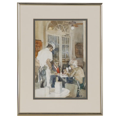 Ann DeLorge Cafe Scene Watercolor Painting