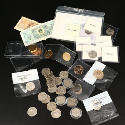 Assortment of Modern U.S. Coins, Older Miscellaneous Coins and Currency
