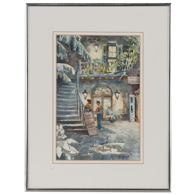 Ann DeLorge Watercolor Painting of New Orleans Courtyard