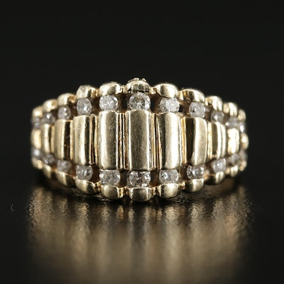 10K Gold Diamond Stepped Band