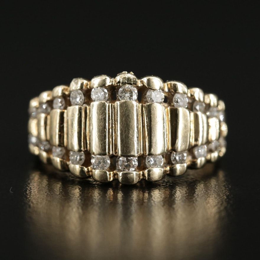 10K Gold Diamond Stepped Band