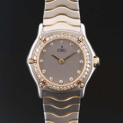 Ebel Classic Wave Diamond Stainless Steel and 18K Gold Quartz Wristwatch