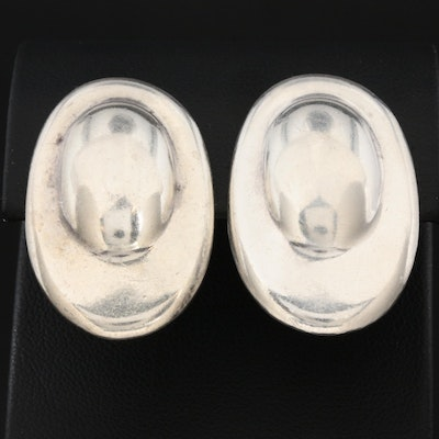 Vintage Taxco Sterling Silver Oval Clip-On Earrings