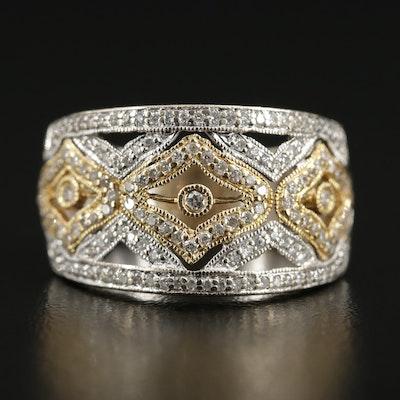 18K Gold Diamond Openwork Ring