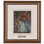 """Manos Rovithis Oil Painting """"Paros Islander"""", 1986"""