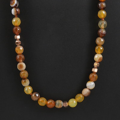 Agate and Quartz Endless Beaded Necklace