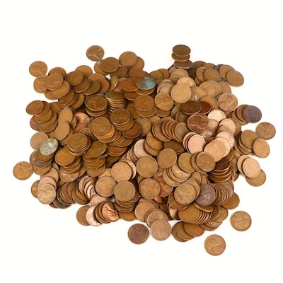 Approximately 640 Lincoln Wheat Cents, 1940s and 1950s
