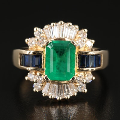 EFFY 14K Gold 1.33 CT Emerald, Sapphire and Diamond Ring