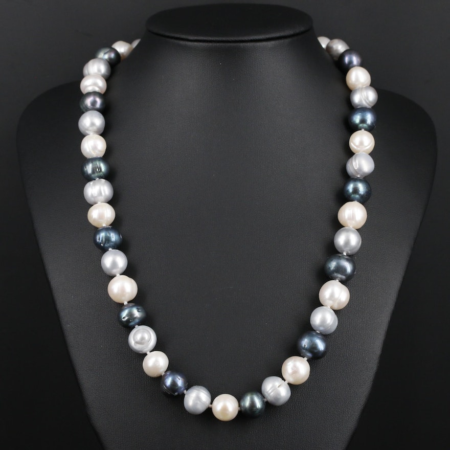 Cultured Pearl Necklace with Rhinestone Accents