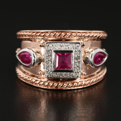 EFFY 14K Rose Gold Ruby and Diamond Ring