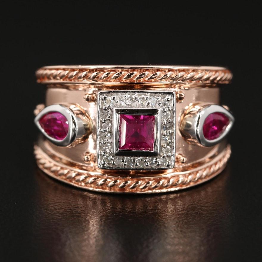 EFFY 14K Rose Gold Ruby and Diamond Ring