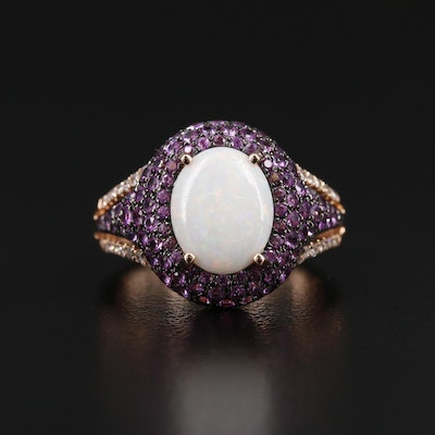 EFFY 14K Rose Gold Opal, Ruby and Diamond Ring