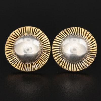 Taxco Sterling Dome Button Earrings
