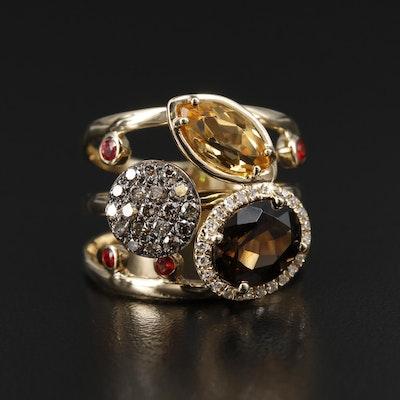 EFFY 14K Yellow Gold Diamond, Citrine and Smoky Quartz Ring