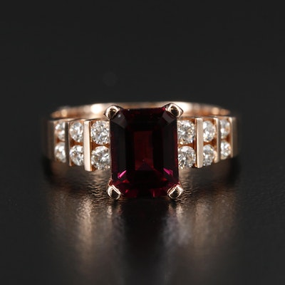 EFFY 14K Gold Rhodolite Garnet and Diamond Ring