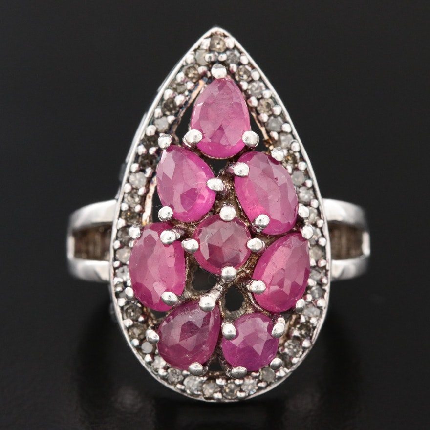 Sterling Silver Ruby and Diamond Cluster Ring