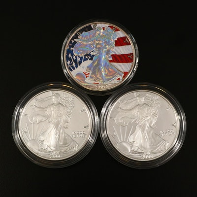 Three American Silver Eagle Bullion Coins, Two Proof, One Colorized