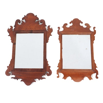 Two Chippendale Style Scrolled Mahogany Mirrors, Late 19th Century