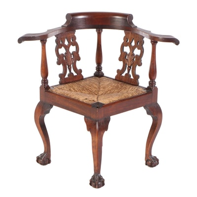 Chippendale Style Mahogany Rush Seat Corner Chair, Early 20th Century