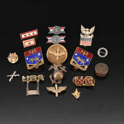 Collection of Vintage Military Pins Including 10K and Sterling