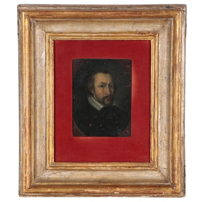 Oil Painting on Copper in the Style of an Old Master Portrait, 19th Century