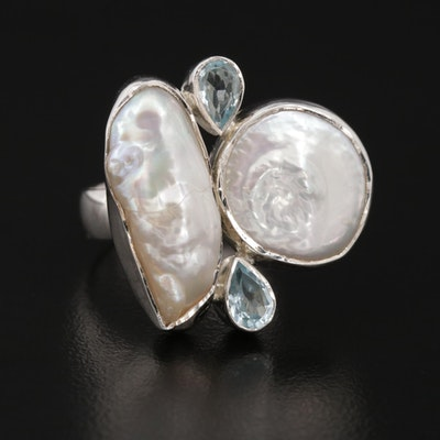 Sterling Silver Pearl and Blue Topaz Ring