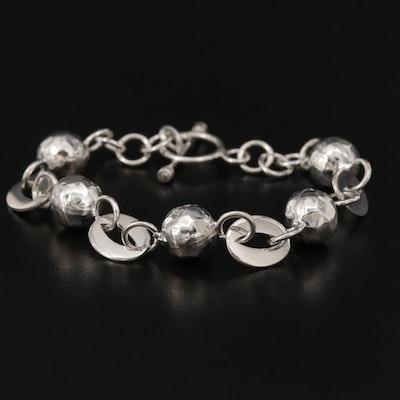 Mexican Sterling Silver Fancy Link Chain Bracelet