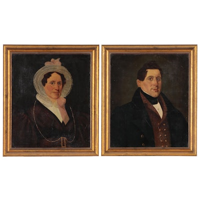 Folk Style Portrait Oil Paintings of a Man and Woman, Mid to Late 18th Century