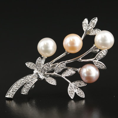 14K Gold Pearl and Diamond Floral Brooch