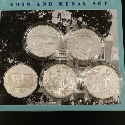 Five Modern Commemorative Silver Dollars, Both Uncirculated and Proof