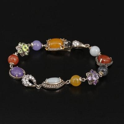Sterling Silver Peridot, Amethyst, Jadeite and Cubic Zirconia Bracelet