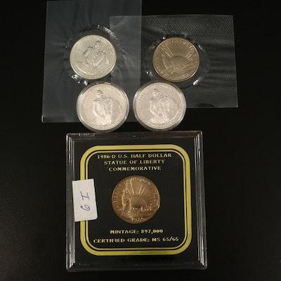 Two Statue of Liberty and Three Silver Washington Commemorative Half Dollars