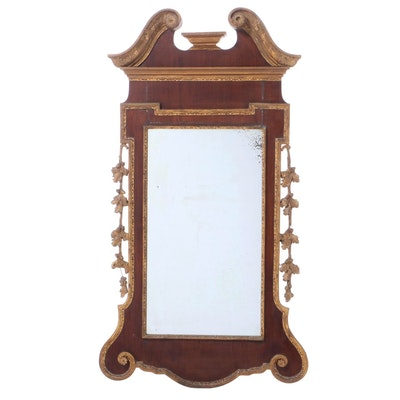 George II Mahogany and Parcel-Gilt Mirror
