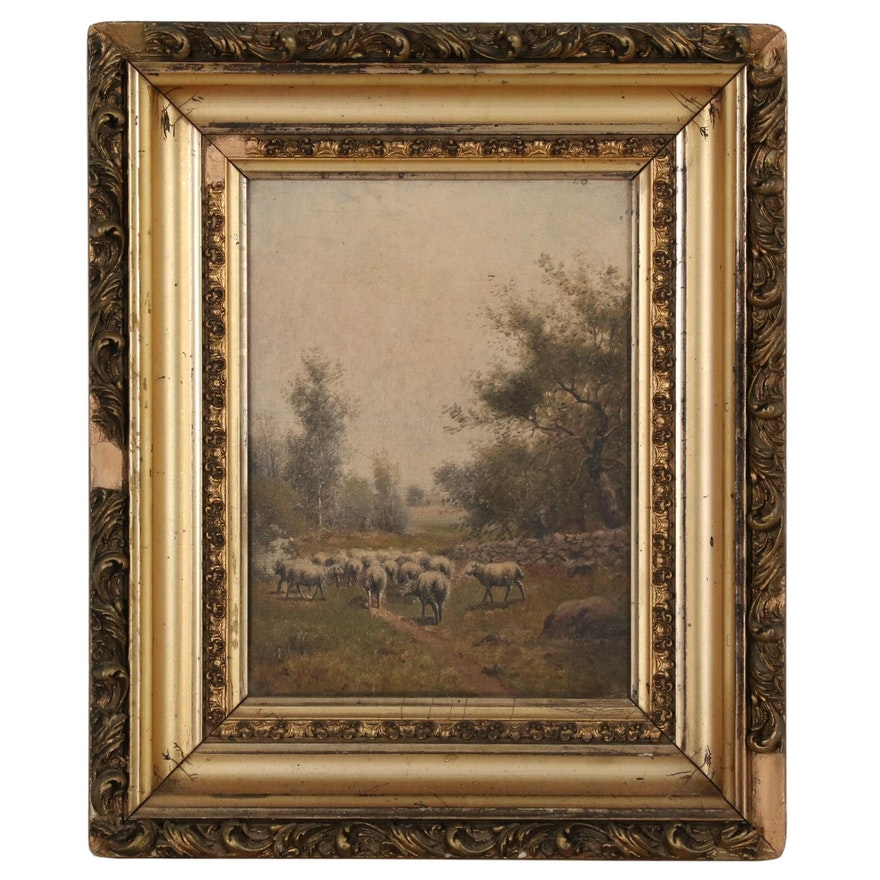 Oil Painting of Sheep at Pasture, Late 19th to Early 20th Century