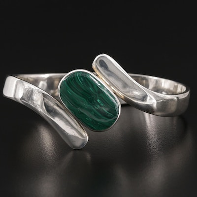 Hinged Mexican Sterling Silver Malachite Bracelet