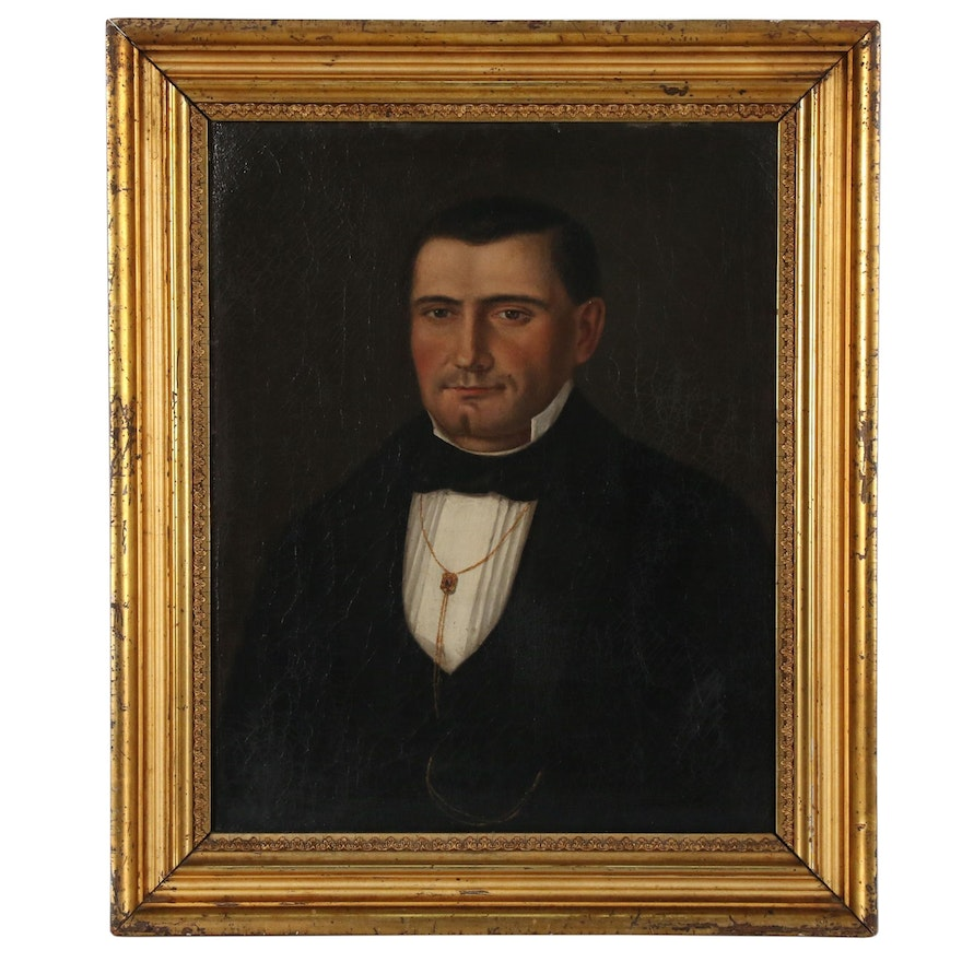 Folk Portrait Oil Painting of a Man, Early 19th Century
